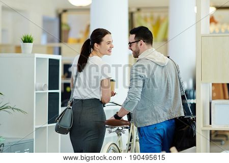 Flirty colleagues leaving office together