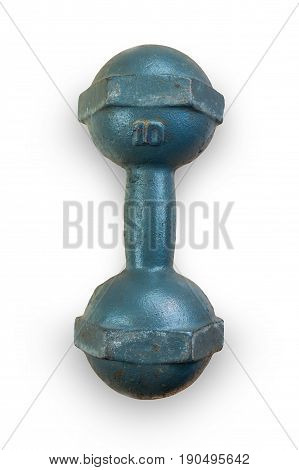 Steel dumbbell for exercise on white background