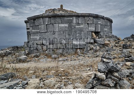 Stone tomb of Kleobulus on the Greek island of Rhodes