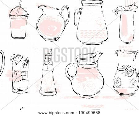Hand drawn vector graphic Kitchen glassware utensils pitcher, bottle glasses bowel drinking accessories seamless pattern isolated on white background with pastel colored freehand textures
