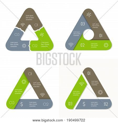 Set of 4 connected triangular infographic diagram. Circular charts with 3 options. Paper progress steps for tutorial with 3 parts. Isolated business concept sequence banners. Workflow layouts.