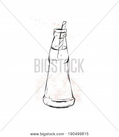 Hand drawn vector graphic Kitchen glassware utensils soda drink glass bowel drinking accessories isolated on white background with pastel colored freehand textures.