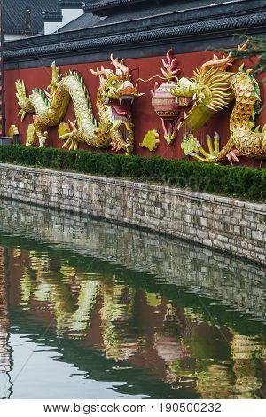 Beautiful traditional dragons in Nanjing, Confucius Temple, Nanjing, China.
