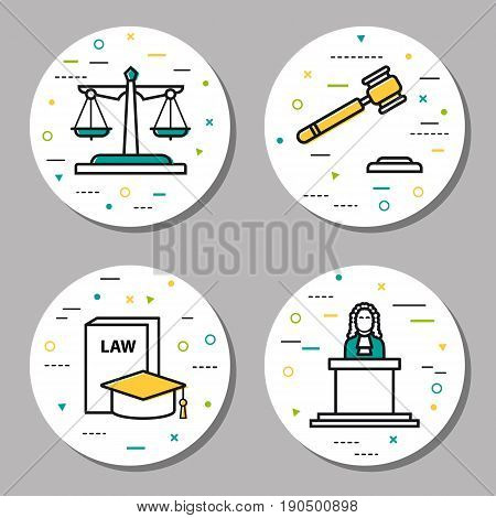 Vector four round judiciary linear icons with additional elements. Scales of justice, judge, verdicts and laws