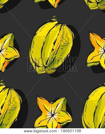 Hand drawn vector abstract unusual seamless pattern with exotic tropical fruit carambola isolated black background.