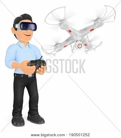 3d illustration. Young man piloting a drone with virtual reality glasses. Isolated white background.