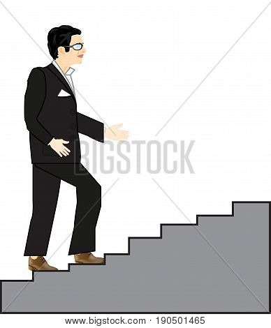 Man in black suit rises on stairway upwards