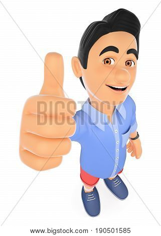 3d young people illustration. Man in shorts with thumb up. Isolated white background.