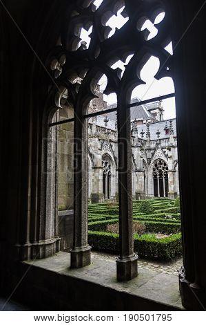 Yard of catholic abbay in Brugge Belgium