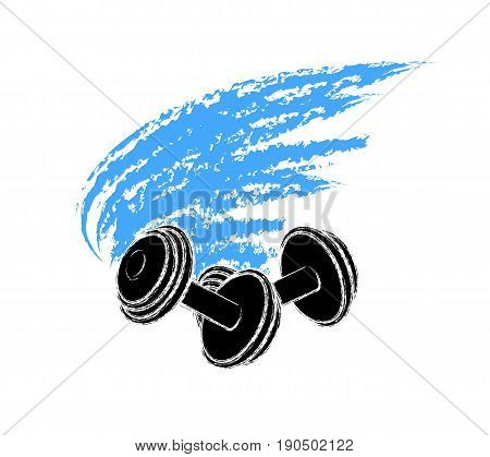 Dumbbell colorful icon with wings symbol web icon