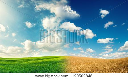 two season in the farmland spring and summer nature background