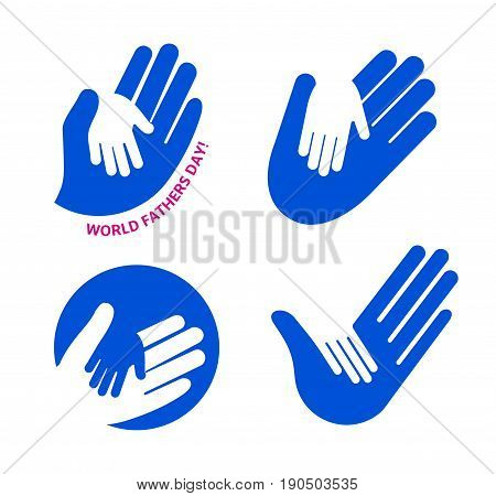 Holding Hand of a child in the hand of an adult vector logo set. World Father Day. Symbol of care, kindness, family, children, parents