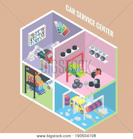 Car service center isometric icons. Vector flat 3d design elements. Auto painting, collision repair, multi level parking, car wash, change tyres, Car mechanic garage.