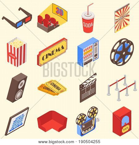 Movie theater accessories and gadgets in isometric style design. Vector flat 3d icons.