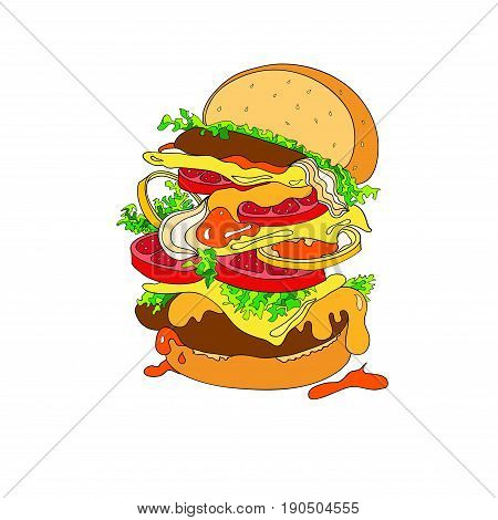 Vector illustration of a fantastic hamburger. Bun, cutlets, tomatoes, tomatoes, ketchup onions lettuce greens