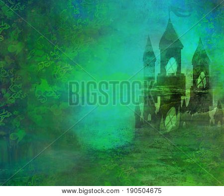Landscape with old castle - abstract illustration , raster