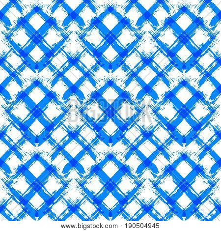 Painted gingham pattern. Seamless brush stroke lines. Sketchy hand drawn graphic print. Grunge vector design. White blue background. Grungy wallpaper, furniture fabric, textile. Square elements.
