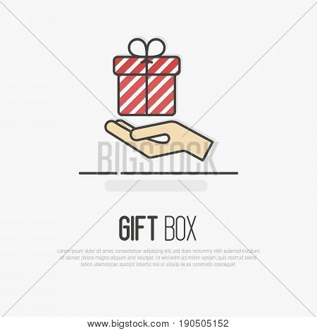 Hand holding a striped gift box. Symbol of give. Thin line vector illustration.