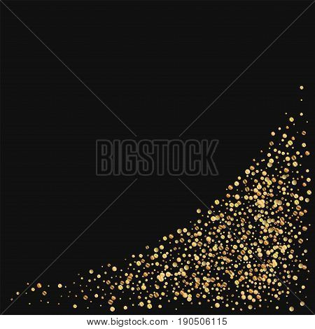 Gold Confetti. Bottom Right Corner On Black Background. Vector Illustration.