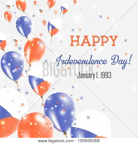 Czech Republic Independence Day Greeting Card. Flying Balloons In Czech Republic National Colors. Ha