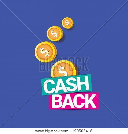 vector cash back icon isolated on blue background. cashback or money refund label
