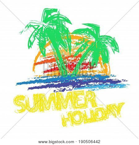 Abstract grunge summer holiday background with palms