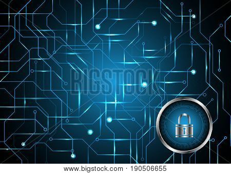 Technology Digital Future Abstract Cyber Security Lock Circle Circuit Background