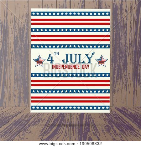 Wooden background with USA holiday placard and shadow