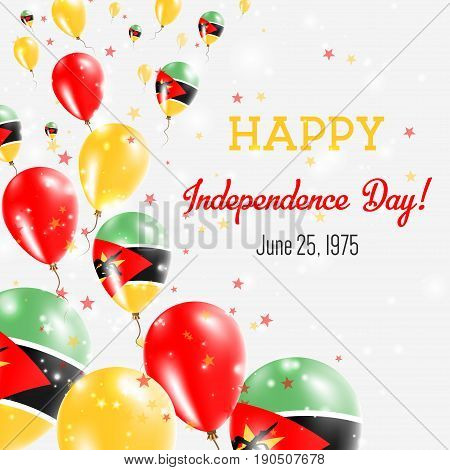 Mozambique Independence Day Greeting Card. Flying Balloons In Mozambique National Colors. Happy Inde