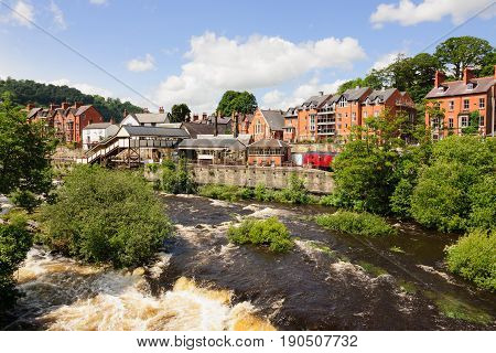 Llangollen Wales UK - June 9 2017: Llangollen with the heritage steam railway station and River Dee a popular gateway town for tourists visiting North East Wales