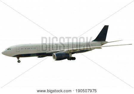 Passenger commercial plane right side isolated on white background.