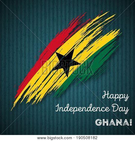 Ghana Independence Day Patriotic Design. Expressive Brush Stroke In National Flag Colors On Dark Str