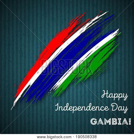 Gambia Independence Day Patriotic Design. Expressive Brush Stroke In National Flag Colors On Dark St