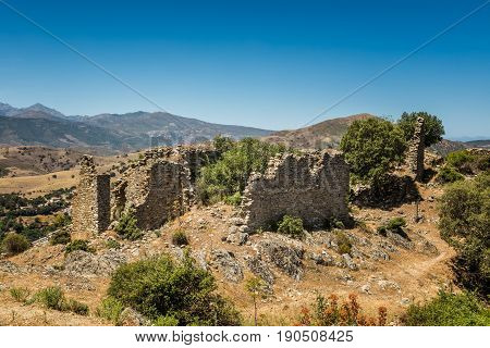 Derelict Ruins At Abandoned Village Of Case Nove In Corsica