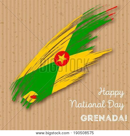 Grenada Independence Day Patriotic Design. Expressive Brush Stroke In National Flag Colors On Kraft