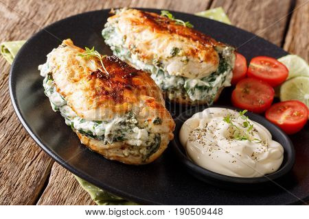 Delicious Food: Baked Chicken Fillet Stuffed With Cheese And Spinach Close-up. Horizontal