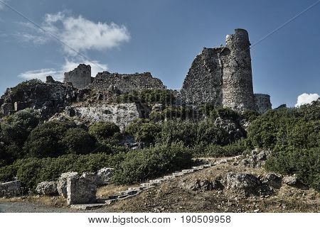 the ruins of the stone castle of the Joannite Order on the island of Rhodes