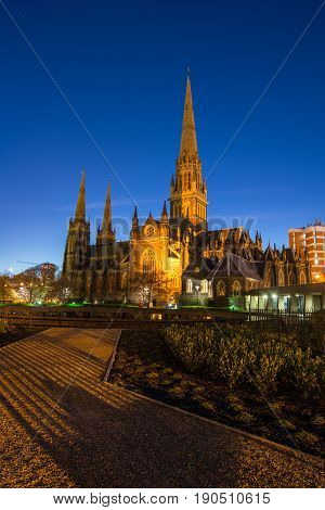 Saint Patrick cathedral the biggest church in Melbourne town of Australia during the dusk.