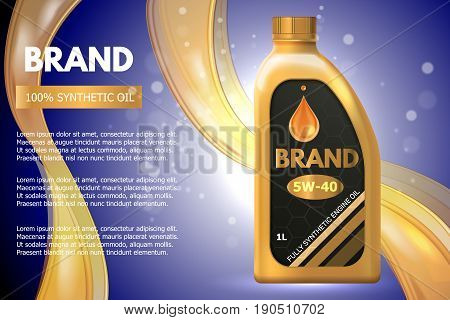 Motor oil product container ad. Vector 3d illustration. Car engine oil bottle template design.