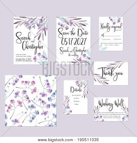 Template cards set with watercolor purple winter branches and berries; wedding design for invitation, Save the date card, RSVP, Thank you card, Wishing Well card,  for anniversary day