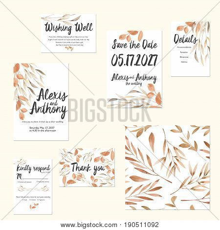 Template cards set with watercolor autumn tree branches; wedding design for invitation, Save the date card, RSVP, Thank you card, Wishing Well card,  for anniversary day
