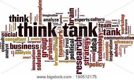 Think tank word cloud concept. Vector illustration