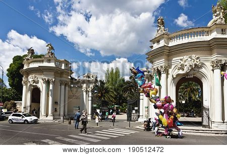 Rome, Italy - March 16, 2017: Entrance to Bioparco zoo at Villa Borghese (18 century). Rome. Italy