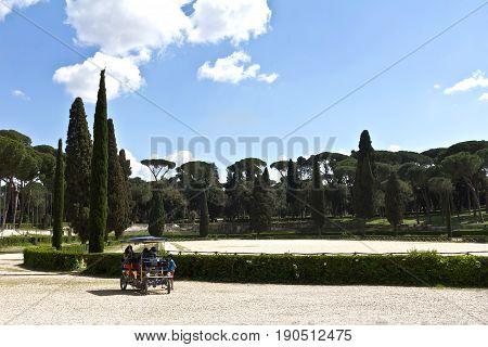 Rome, Italy - March 16, 2017: Picturesque landscape in Villa Borghese gardens, Rome