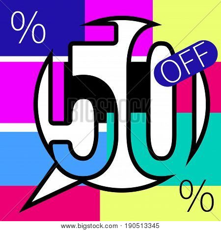 Sale 50 persent off colorful special offer banner. Vector illustration. - stock vector
