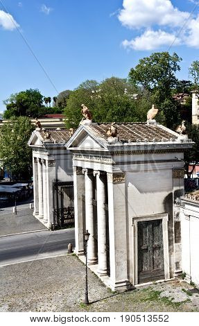 Rome, Italy - March 16, 2017: Borghese Villa door, entrance from Porta del Popolo, Italy, Rome