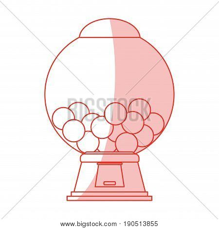 Flat line monocromatic candy vending machine over white background vector illustration