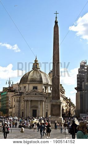 Rome, Italy - March 16, 2017: Piazza del Popolo with unidentified people  in Rome, Italy. Its a large urban square. For centuries it was a place for public executions