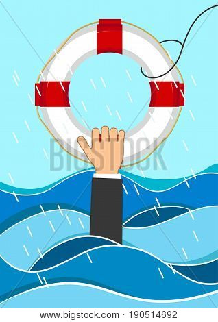 Business man drowns holding a lifebuoy in waves. Flat business concept