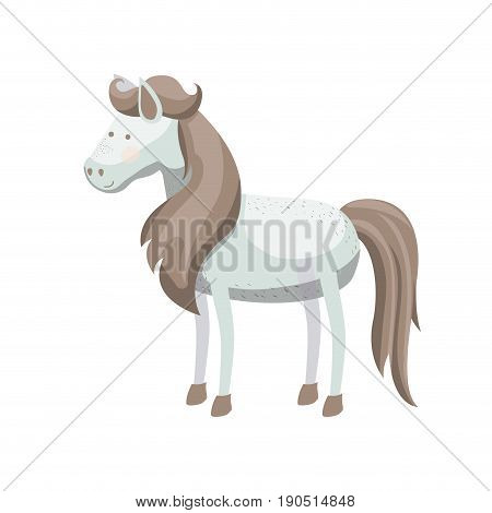 light colors of white horse with freckles and mane and tail brown vector illustration